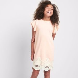 Gap girls baby pink shirt dress with lace.